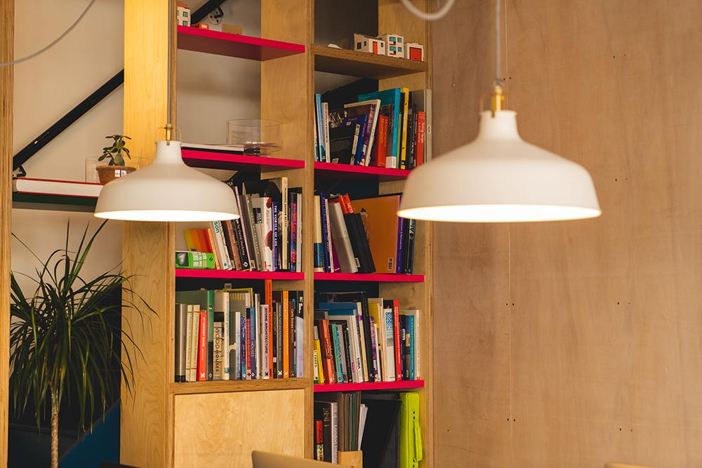 Bookshelf with Light Shade
