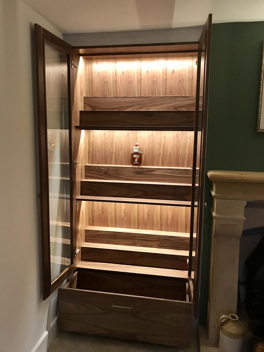 Open Wood Glass Cupboard